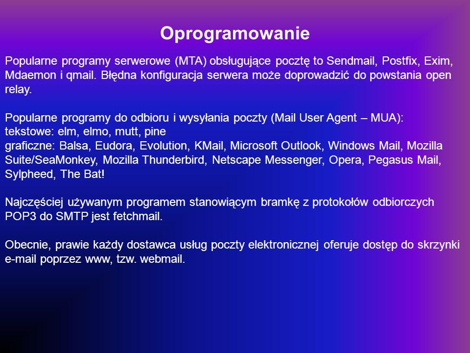 Oprogramowanie Popularne programy serwerowe (MTA) obsługujące pocztę to Sendmail, Postfix, Exim, Mdaemon i qmail.