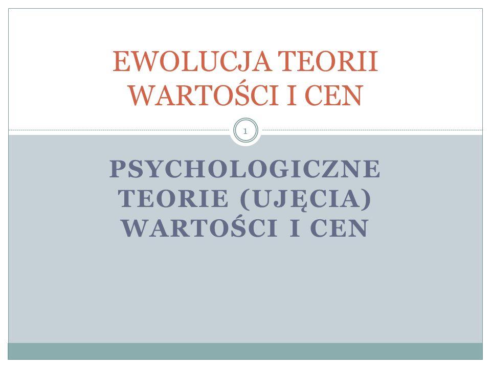PSYCHOLOGICZNE TEORIE (UJĘCIA) WARTOŚCI I CEN EWOLUCJA TEORII WARTOŚCI I CEN 1