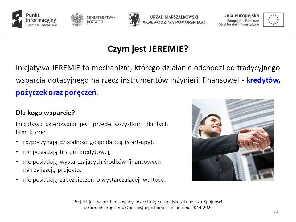 Projekt jest współfinansowany przez Unię Europejską z Funduszu Spójności w ramach Programu Operacyjnego Pomoc Techniczna 2014-2020 Czym jest JEREMIE.
