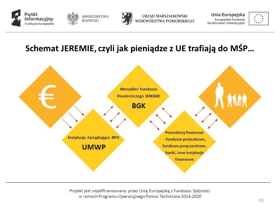 Projekt jest współfinansowany przez Unię Europejską z Funduszu Spójności w ramach Programu Operacyjnego Pomoc Techniczna 2014-2020 Schemat JEREMIE, czyli jak pieniądze z UE trafiają do MŚP… Instytucja Zarządzająca RPO UMWP Menadżer Funduszu Powierniczego JEREMIE BGK Pośrednicy finansowi - fundusze pożyczkowe, fundusze poręczeniowe, banki, inne instytucje finansowe 16
