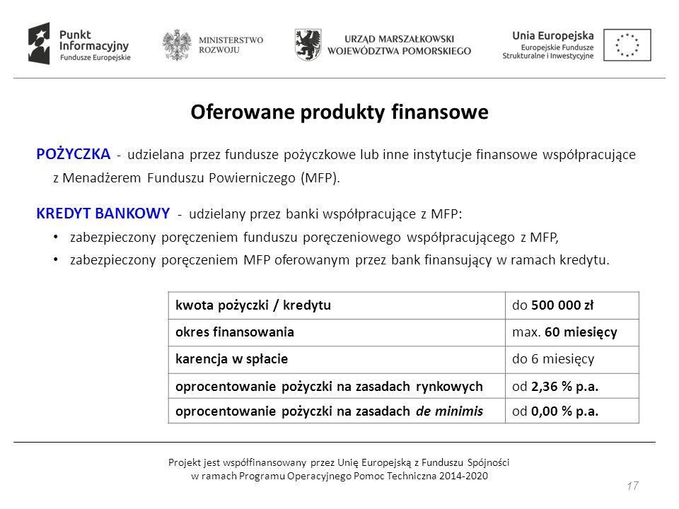 Projekt jest współfinansowany przez Unię Europejską z Funduszu Spójności w ramach Programu Operacyjnego Pomoc Techniczna 2014-2020 Oferowane produkty finansowe POŻYCZKA - udzielana przez fundusze pożyczkowe lub inne instytucje finansowe współpracujące z Menadżerem Funduszu Powierniczego (MFP).