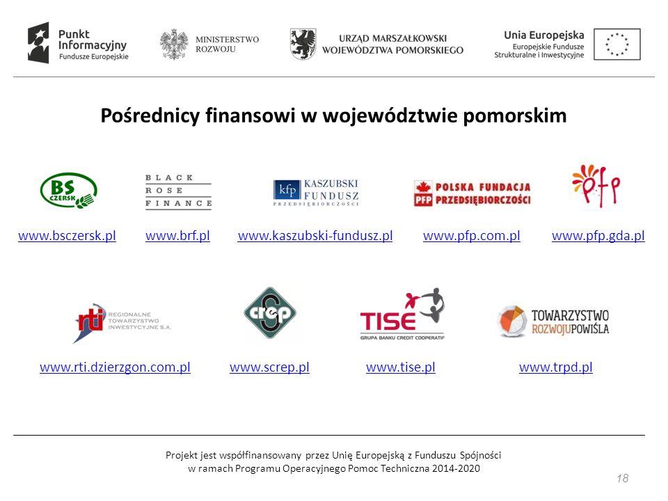 Projekt jest współfinansowany przez Unię Europejską z Funduszu Spójności w ramach Programu Operacyjnego Pomoc Techniczna 2014-2020 Pośrednicy finansowi w województwie pomorskim www.bsczersk.plwww.brf.plwww.kaszubski-fundusz.plwww.pfp.com.plwww.pfp.gda.pl www.rti.dzierzgon.com.plwww.screp.plwww.tise.plwww.trpd.pl 18