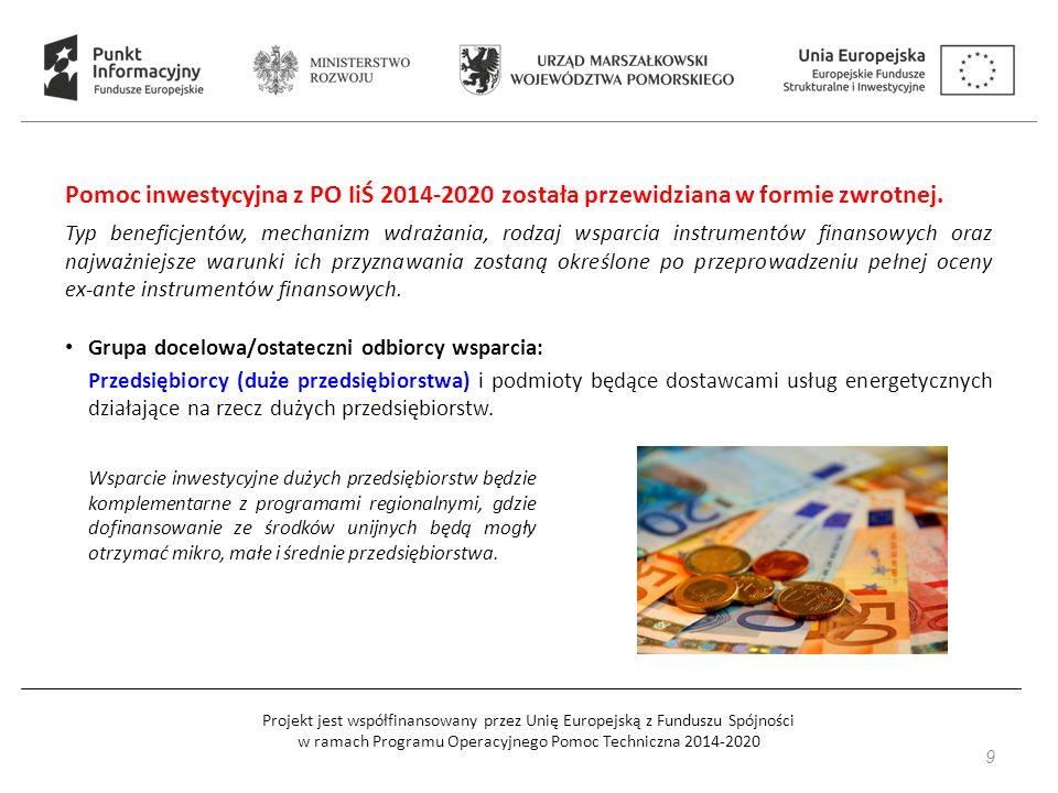 Projekt jest współfinansowany przez Unię Europejską z Funduszu Spójności w ramach Programu Operacyjnego Pomoc Techniczna 2014-2020 Pomoc inwestycyjna z PO IiŚ 2014-2020 została przewidziana w formie zwrotnej.