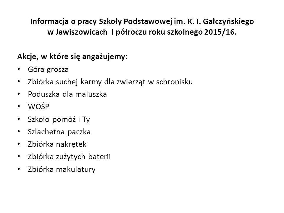 Informacja o pracy Szkoły Podstawowej im.K. I.