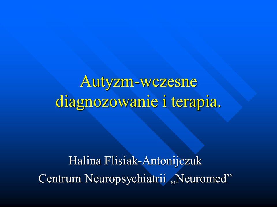 Epidemiologia Według danych Autism Europe 0,6 % populacji Unii Europejskiej dotkniętych jest autyzmem, co stanowi około 5 milionów osób (szacunki z 2009 r.) Według danych Autism Europe 0,6 % populacji Unii Europejskiej dotkniętych jest autyzmem, co stanowi około 5 milionów osób (szacunki z 2009 r.) Polska – nie ma dokładnych danych, ale przyjmując dane z badań epidemiologicznych przeprowadzanych w różnych krajach (w Polsce takich badań nie było) należy ocenić, iż w Polsce osób tych może być co najmniej 30 000, a nawet dużo więcej Polska – nie ma dokładnych danych, ale przyjmując dane z badań epidemiologicznych przeprowadzanych w różnych krajach (w Polsce takich badań nie było) należy ocenić, iż w Polsce osób tych może być co najmniej 30 000, a nawet dużo więcej