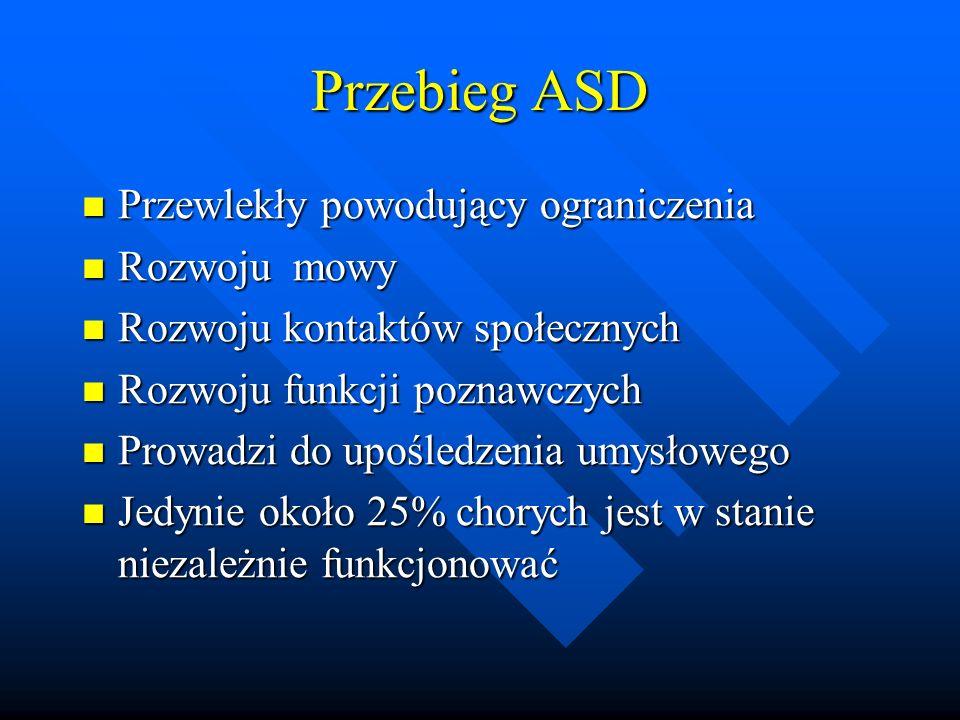 Przebieg ASD Przewlekły powodujący ograniczenia Przewlekły powodujący ograniczenia Rozwoju mowy Rozwoju mowy Rozwoju kontaktów społecznych Rozwoju kontaktów społecznych Rozwoju funkcji poznawczych Rozwoju funkcji poznawczych Prowadzi do upośledzenia umysłowego Prowadzi do upośledzenia umysłowego Jedynie około 25% chorych jest w stanie niezależnie funkcjonować Jedynie około 25% chorych jest w stanie niezależnie funkcjonować