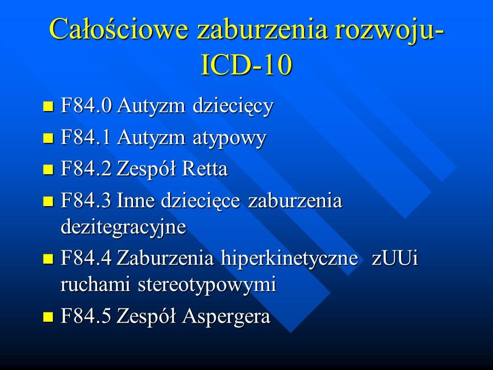 Całościowe zaburzenia rozwoju- ICD-10 F84.0 Autyzm dziecięcy F84.0 Autyzm dziecięcy F84.1 Autyzm atypowy F84.1 Autyzm atypowy F84.2 Zespół Retta F84.2 Zespół Retta F84.3 Inne dziecięce zaburzenia dezitegracyjne F84.3 Inne dziecięce zaburzenia dezitegracyjne F84.4 Zaburzenia hiperkinetyczne zUUi ruchami stereotypowymi F84.4 Zaburzenia hiperkinetyczne zUUi ruchami stereotypowymi F84.5 Zespół Aspergera F84.5 Zespół Aspergera