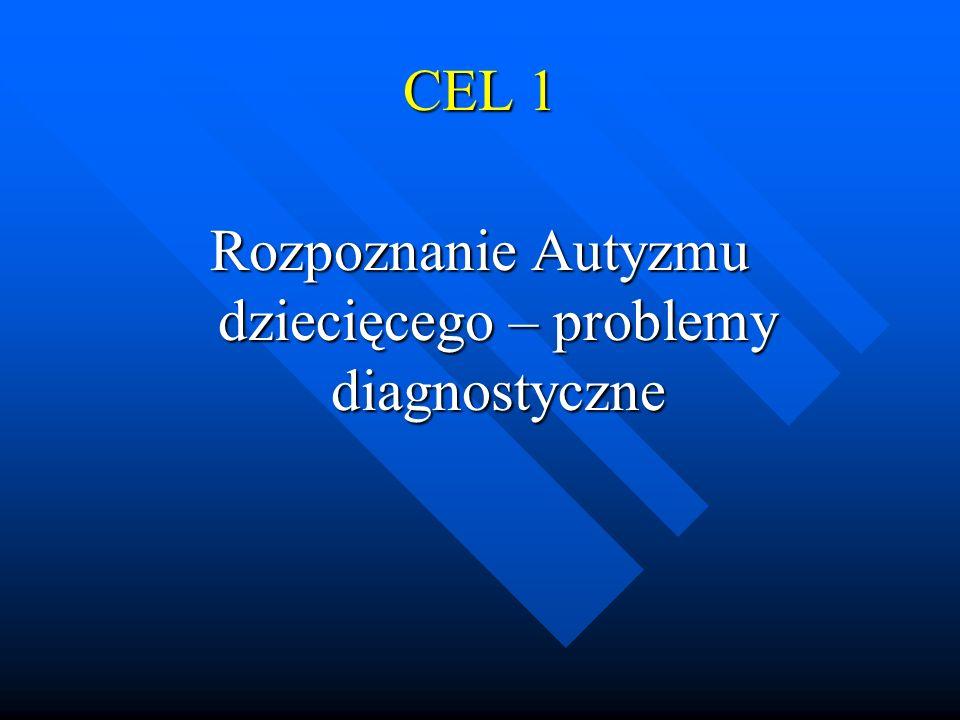 CEL 1 Rozpoznanie Autyzmu dziecięcego – problemy diagnostyczne