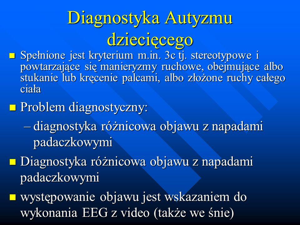 Diagnostyka Autyzmu dziecięcego Spełnione jest kryterium m.in.