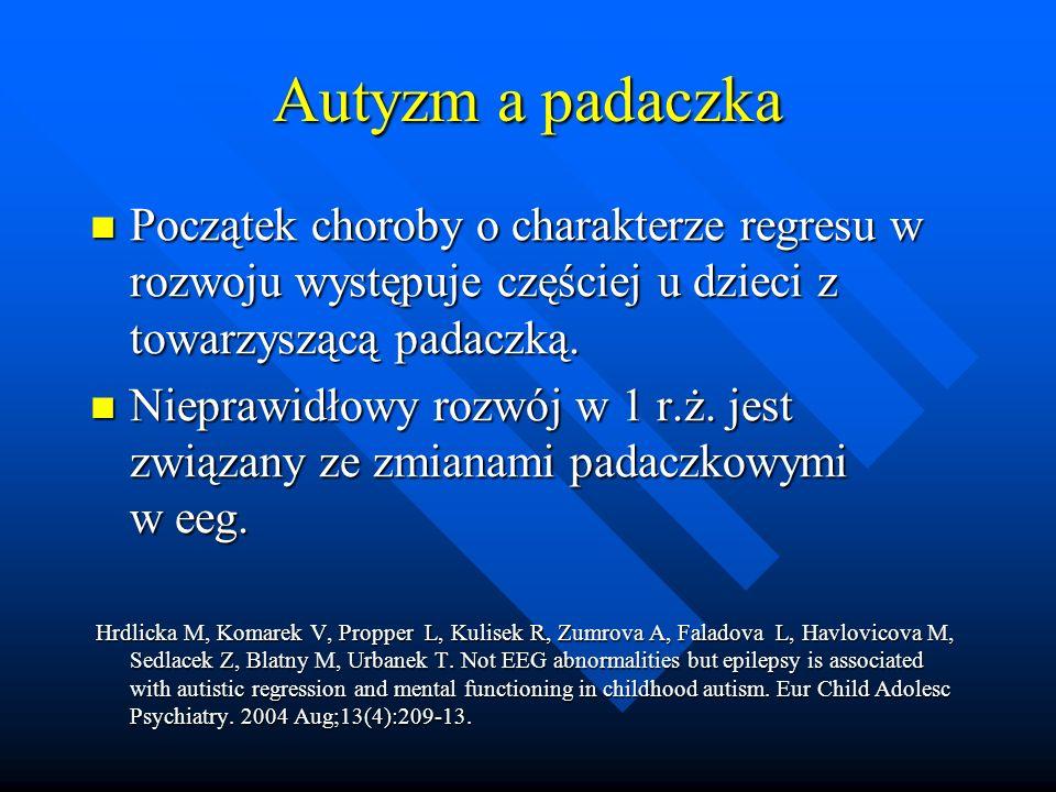 Autyzm a padaczka Początek choroby o charakterze regresu w rozwoju występuje częściej u dzieci z towarzyszącą padaczką.