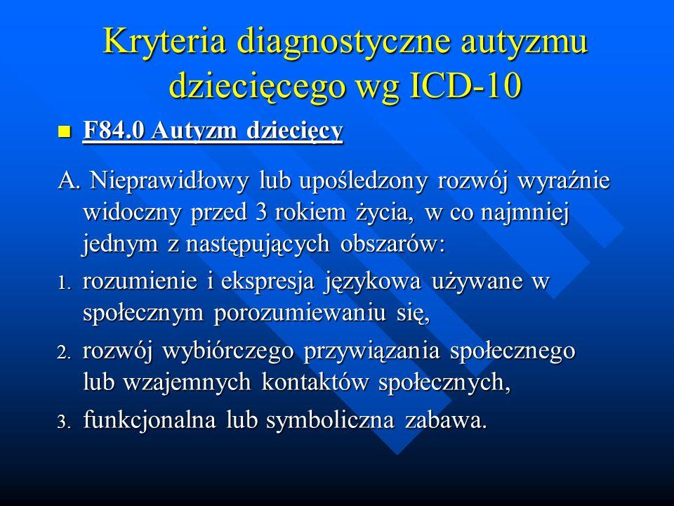 Kryteria diagnostyczne autyzmu dziecięcego wg ICD-10 F84.0 Autyzm dziecięcy F84.0 Autyzm dziecięcy A.