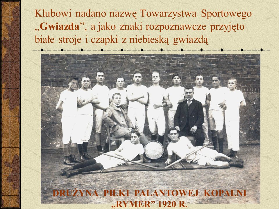 """Klubowi nadano nazwę Towarzystwa Sportowego """"Gwiazda"""", a jako znaki rozpoznawcze przyjęto białe stroje i czapki z niebieską gwiazdą DRUŻYNA PIŁKI PALA"""