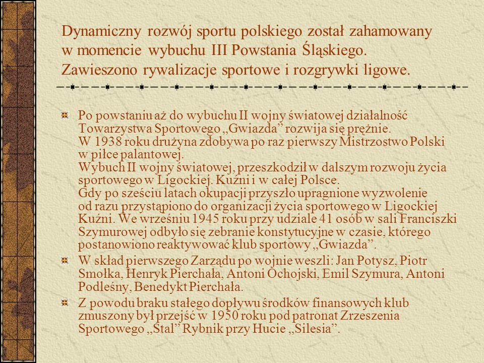Dynamiczny rozwój sportu polskiego został zahamowany w momencie wybuchu III Powstania Śląskiego. Zawieszono rywalizacje sportowe i rozgrywki ligowe. P