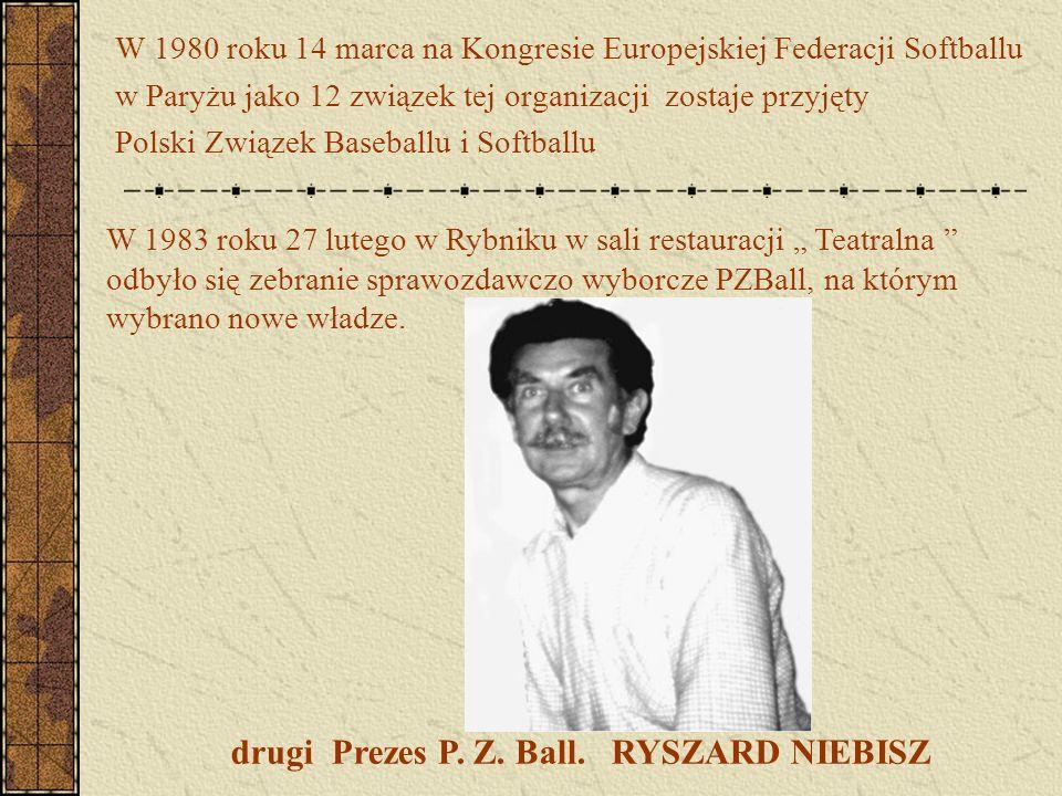W 1980 roku 14 marca na Kongresie Europejskiej Federacji Softballu w Paryżu jako 12 związek tej organizacji zostaje przyjęty Polski Związek Baseballu