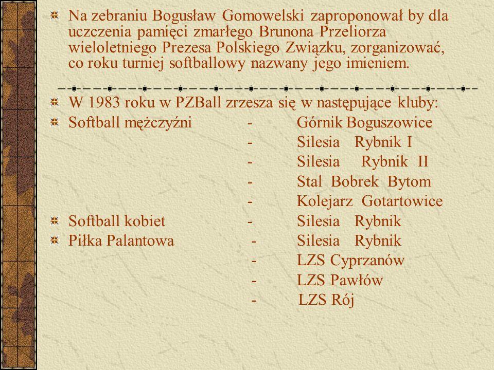 Na zebraniu Bogusław Gomowelski zaproponował by dla uczczenia pamięci zmarłego Brunona Przeliorza wieloletniego Prezesa Polskiego Związku, zorganizowa