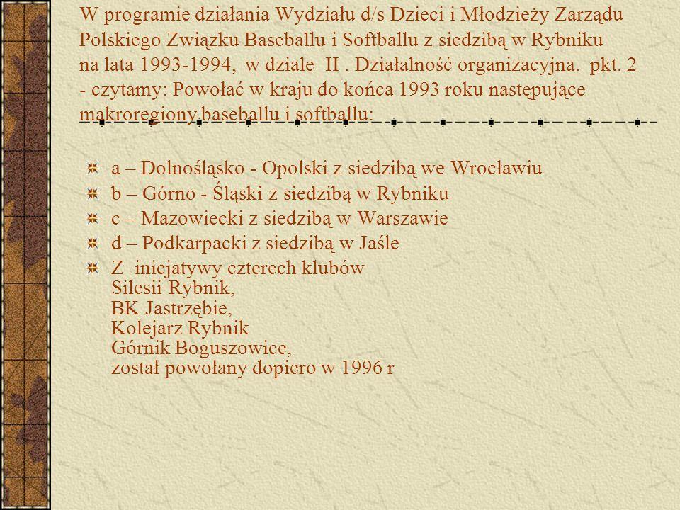 W programie działania Wydziału d/s Dzieci i Młodzieży Zarządu Polskiego Związku Baseballu i Softballu z siedzibą w Rybniku na lata 1993-1994, w dziale