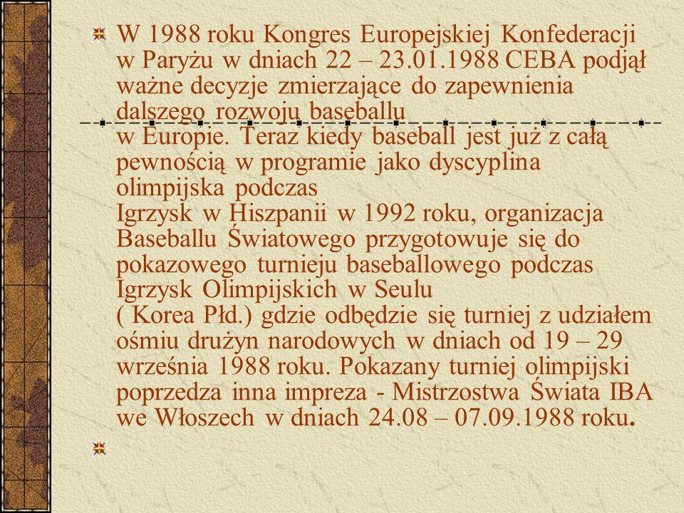 W 1988 roku Kongres Europejskiej Konfederacji w Paryżu w dniach 22 – 23.01.1988 CEBA podjął ważne decyzje zmierzające do zapewnienia dalszego rozwoju