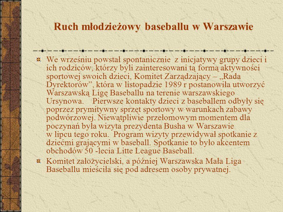 Ruch młodzieżowy baseballu w Warszawie We wrześniu powstał spontanicznie z inicjatywy grupy dzieci i ich rodziców, którzy byli zainteresowani tą formą