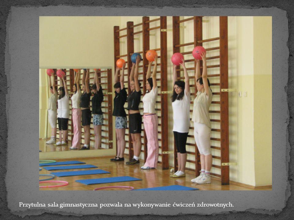 Przytulna sala gimnastyczna pozwala na wykonywanie ćwiczeń zdrowotnych.