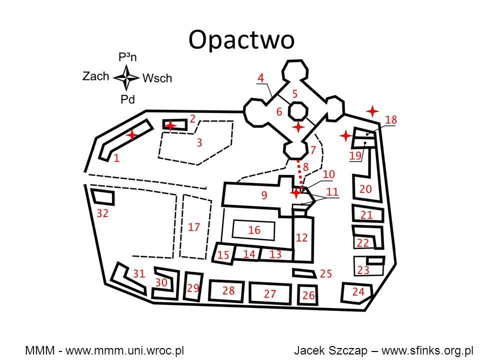 MMM - www.mmm.uni.wroc.pl Jacek Szczap – www.sfinks.org.pl 1 – szpital 2 – warzywnik 3 – łaźnie 4 – Gmach 5 – refektarz (jadalnia) 6 – kuchnia 7 - cmentarz 8 - kostnica (ossarium, pod cmentarzem) 9 – kościół 10 – kaplica z wejściem do kostnicy (w lewej bocznej nawie przy ołtarzu 11 – stalle (ławy) chóru – przed bocznymi nawami przy ołtarzu 12, 13 - dormitorium (izby zakonników) 14 – austeria (dom dla pielgrzymów) 15 –kapituła (miejsce zgromadzeń) i dom opata 16 – dziedziniec otoczony krużgankami 17 - ogród 18 – chlewy 19 – obory 20 – stajnie 21-23 - zagrody 24 - kuźnia 25 – latryny 26-31 - wytłaczarnie, młyny, spichrze, piwnice, budynek nowicjuszy, zagrody 32 – prawdopodobnie strażnica przy bramie * - miejsca śmierci zakonników (nie podaję których gdzie – żeby nie psuć wątku kryminalnego, tym, którzy jeszcze książki nie czytali) podziemne przejście z kościoła do gmachu.