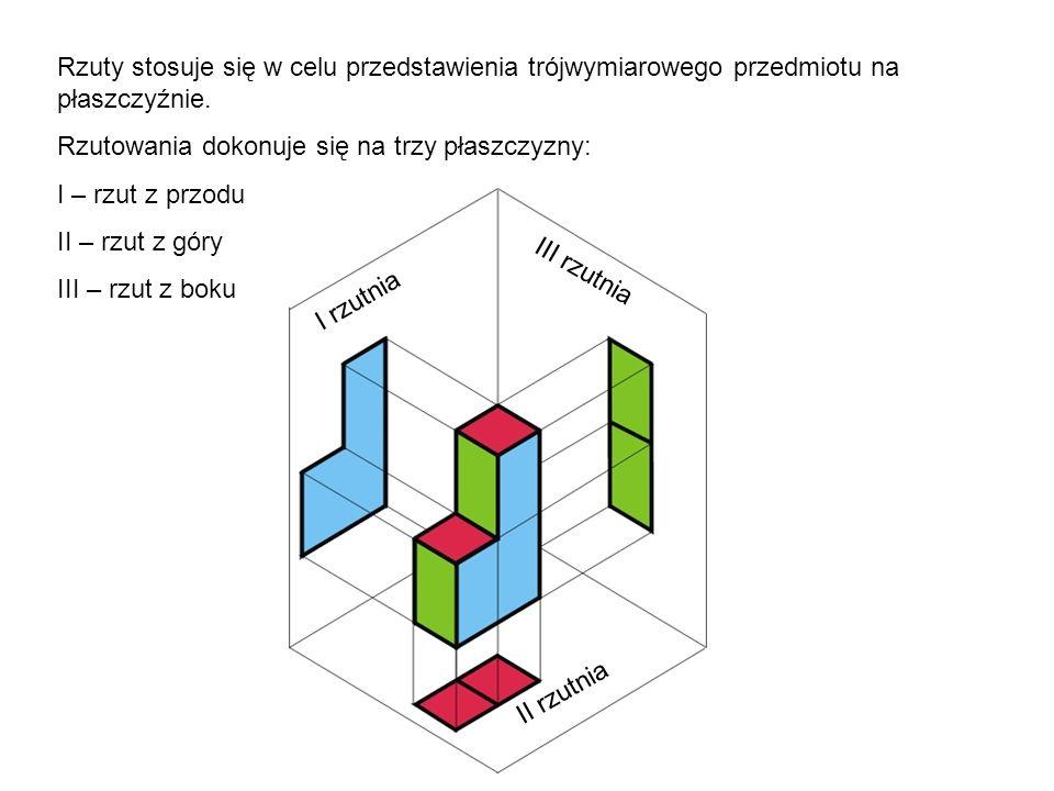 Rzuty stosuje się w celu przedstawienia trójwymiarowego przedmiotu na płaszczyźnie. Rzutowania dokonuje się na trzy płaszczyzny: I – rzut z przodu II