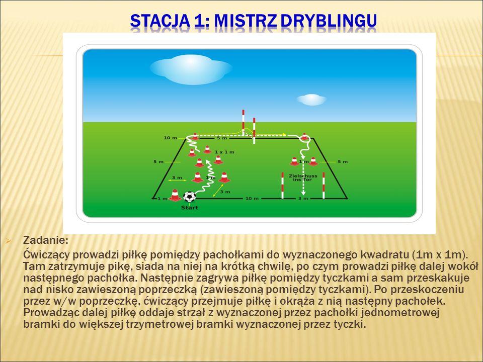  Zadanie: Ćwiczący prowadzi piłkę pomiędzy pachołkami do wyznaczonego kwadratu (1m x 1m). Tam zatrzymuje pikę, siada na niej na krótką chwilę, po czy