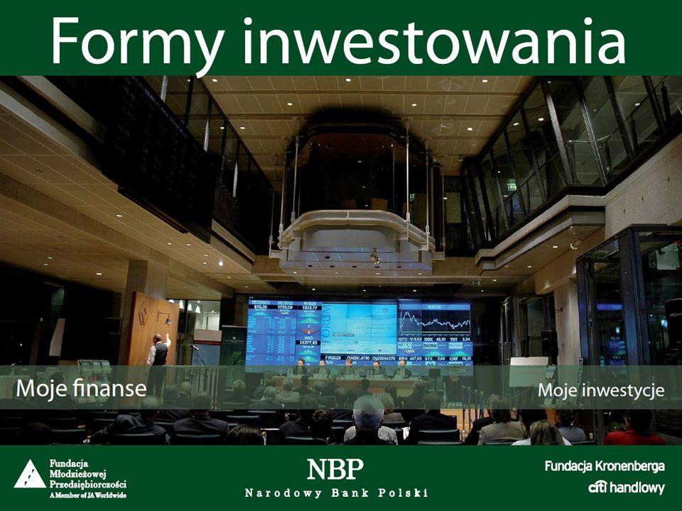 Obligacje Zalety:Wady: stałe przychody (możliwość wypłacania odsetek np.