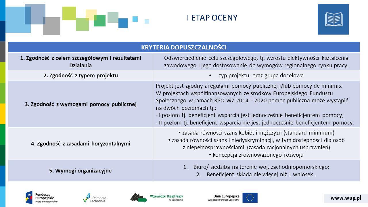 www.wup.pl KRYTERIA DOPUSZCZALNOŚCI 1. Zgodność z celem szczegółowym i rezultatami Działania Odzwierciedlenie celu szczegółowego, tj. wzrostu efektywn