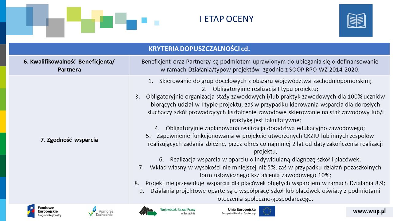 www.wup.pl KRYTERIA DOPUSZCZALNOŚCI cd. 6. Kwalifikowalność Beneficjenta/ Partnera Beneficjent oraz Partnerzy są podmiotem uprawionym do ubiegania się