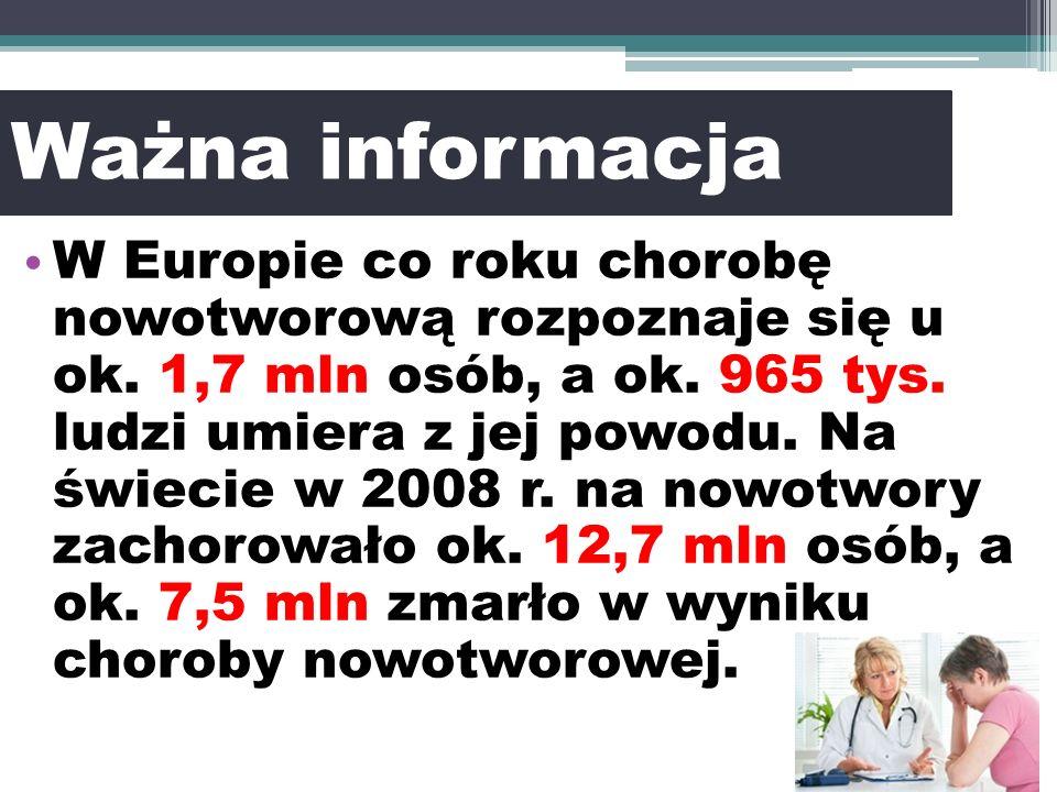 Ważna informacja W Europie co roku chorobę nowotworową rozpoznaje się u ok.