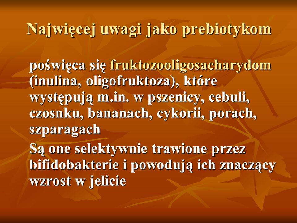 Najwięcej uwagi jako prebiotykom poświęca się fruktozooligosacharydom (inulina, oligofruktoza), które występują m.in.