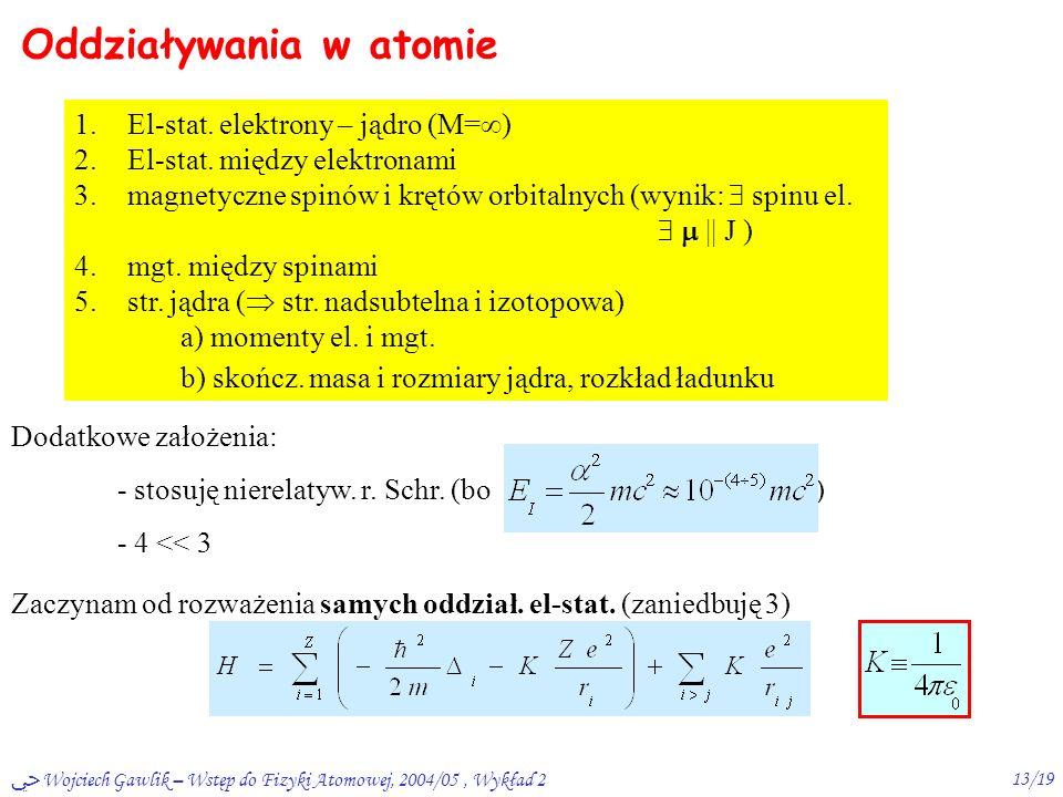 ﴀ Wojciech Gawlik – Wstęp do Fizyki Atomowej, 2004/05, Wykład 212/19 Rzędy wielkości: 30  sek 1-10 nsekczas życia 10 meV (por.