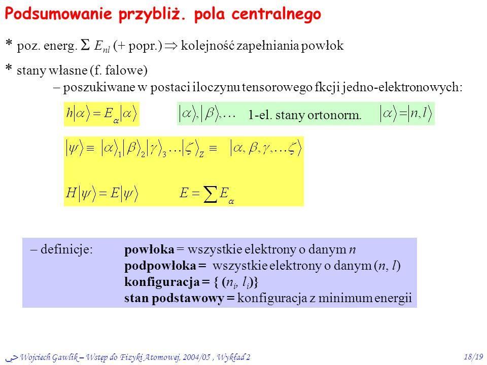 ﴀ Wojciech Gawlik – Wstęp do Fizyki Atomowej, 2004/05, Wykład 217/19 Kolejność zapełniania powłok Np.