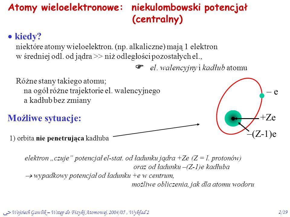 ﴀ Wojciech Gawlik – Wstęp do Fizyki Atomowej, 2004/05, Wykład 21/19 Podsumowanie W1: model Bohra – zalety i wady  mech.