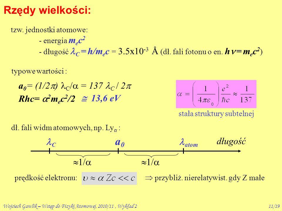 Wojciech Gawlik – Wstęp do Fizyki Atomowej, 2010/11, Wykład 210/19 A powłoki wewnętrzne .