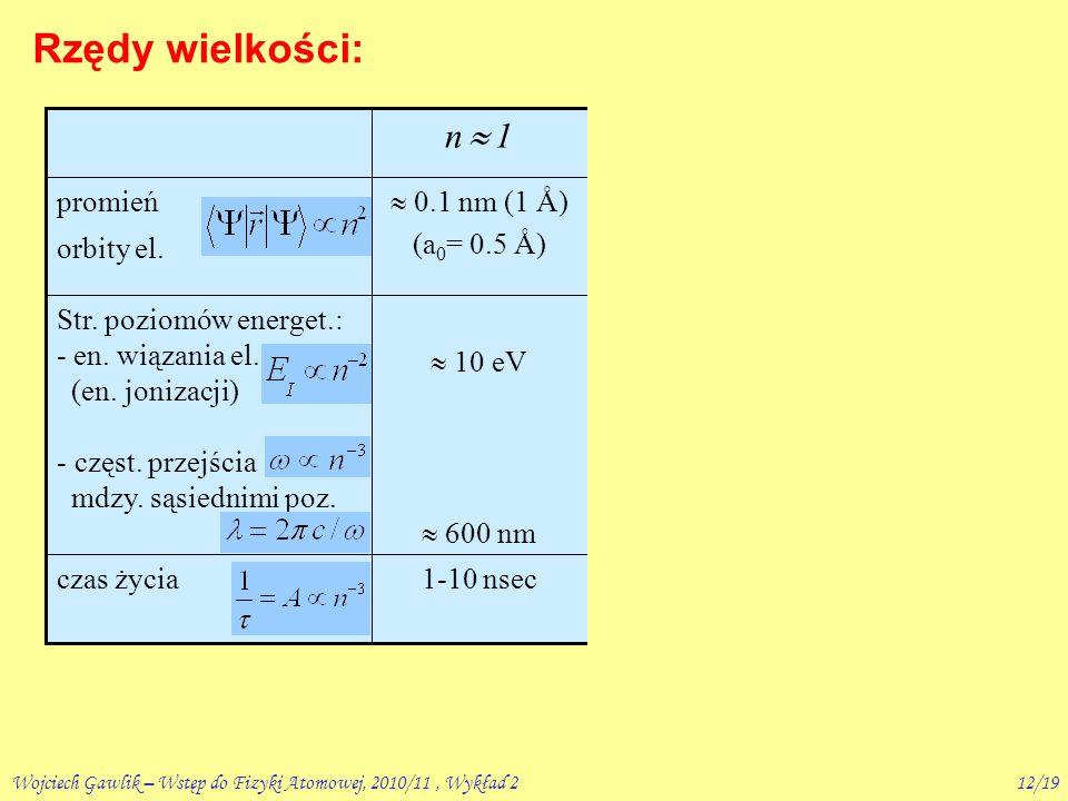 Wojciech Gawlik – Wstęp do Fizyki Atomowej, 2010/11, Wykład 211/19 Rzędy wielkości: tzw.