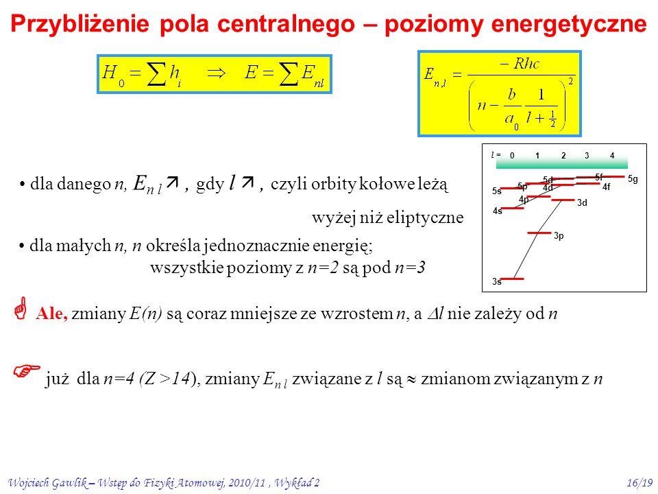 Wojciech Gawlik – Wstęp do Fizyki Atomowej, 2010/11, Wykład 215/19 Przybliżenie pola centralnego – c.d.