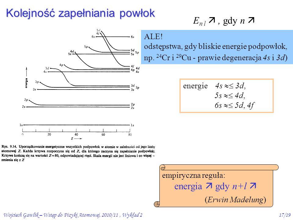 Wojciech Gawlik – Wstęp do Fizyki Atomowej, 2010/11, Wykład 216/19 Przybliżenie pola centralnego – poziomy energetyczne dla danego n, E n l , gdy l , czyli orbity kołowe leżą wyżej niż eliptyczne dla małych n, n określa jednoznacznie energię; wszystkie poziomy z n=2 są pod n=3  już dla n=4 (Z >14), zmiany E n l związane z l są  zmianom związanym z n  Ale, zmiany E(n) są coraz mniejsze ze wzrostem n, a  l nie zależy od n 3s 3p 3d 12 34 l = 0 5s 5d 5f 5g 5p 4s 4p 4f 4d