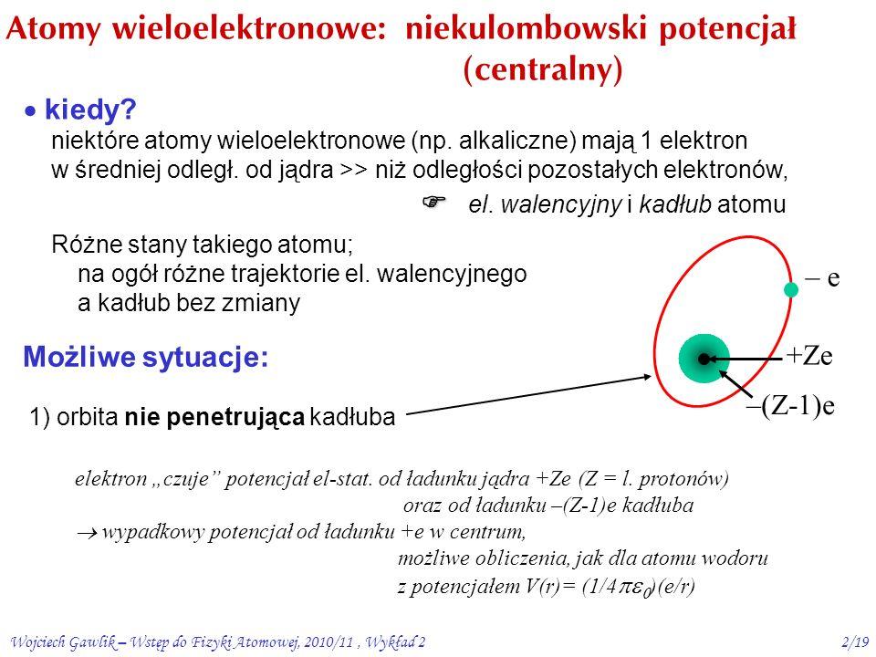 Wojciech Gawlik – Wstęp do Fizyki Atomowej, 2010/11, Wykład 21/19 Podsumowanie W1: model Bohra – zalety i wady naiwne podej ś cie vs.