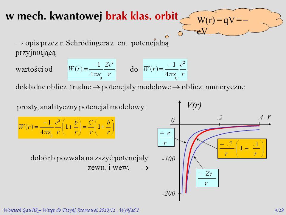 Wojciech Gawlik – Wstęp do Fizyki Atomowej, 2010/11, Wykład 23/19 Penetracja: mała – orbity kołowe (duże l ) duża – orbity wydłużone - eliptyczne (małe l ) (wyjątek l =0) 2) orbita penetrująca potencjał na zewnątrz potencjał wewnątrz stałą dobiera się do zszycia potencjałów wew.