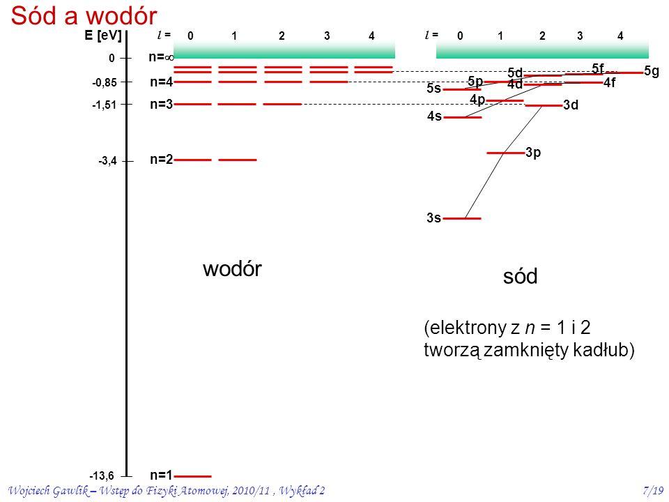 Wojciech Gawlik – Wstęp do Fizyki Atomowej, 2010/11, Wykład 26/19 Defekt kwantowy  l = l – l * potencjał kulombowski potencjał niekulombowski (atom wodoru) (atomy alkaliczne) l * (l * +1)= (l -  l)(l -  l +1)  l(l+1) – Bb  l 2 – 2 l  l –  l = – Bb, gdy b<<1, (  l) 2 <<  l wtedy energia: a więc zależy od l Potencjał C(1+b/r)/r znosi degenerację ze wzgl.