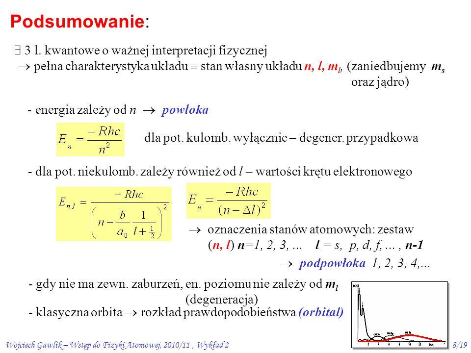 Wojciech Gawlik – Wstęp do Fizyki Atomowej, 2010/11, Wykład 27/19 3s 3p 3d 12 3 4 l = 0 5s 5d 5f 5g 5p 4s 4p 4f 4d n=  -13,6 -3,4 -1,51 -0,85 0 E [eV] 12 3 4 l = 0 n=1 n=2 n=3 n=4 wodór sód Sód a wodór (elektrony z n = 1 i 2 tworzą zamknięty kadłub)