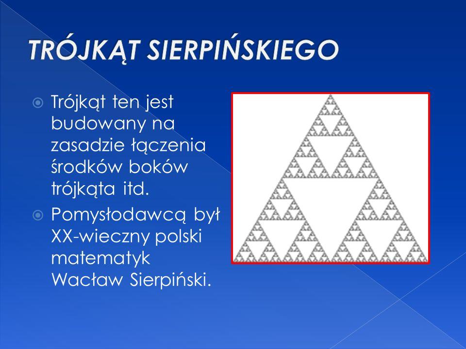  Trójkąt ten jest budowany na zasadzie łączenia środków boków trójkąta itd.  Pomysłodawcą był XX-wieczny polski matematyk Wacław Sierpiński.