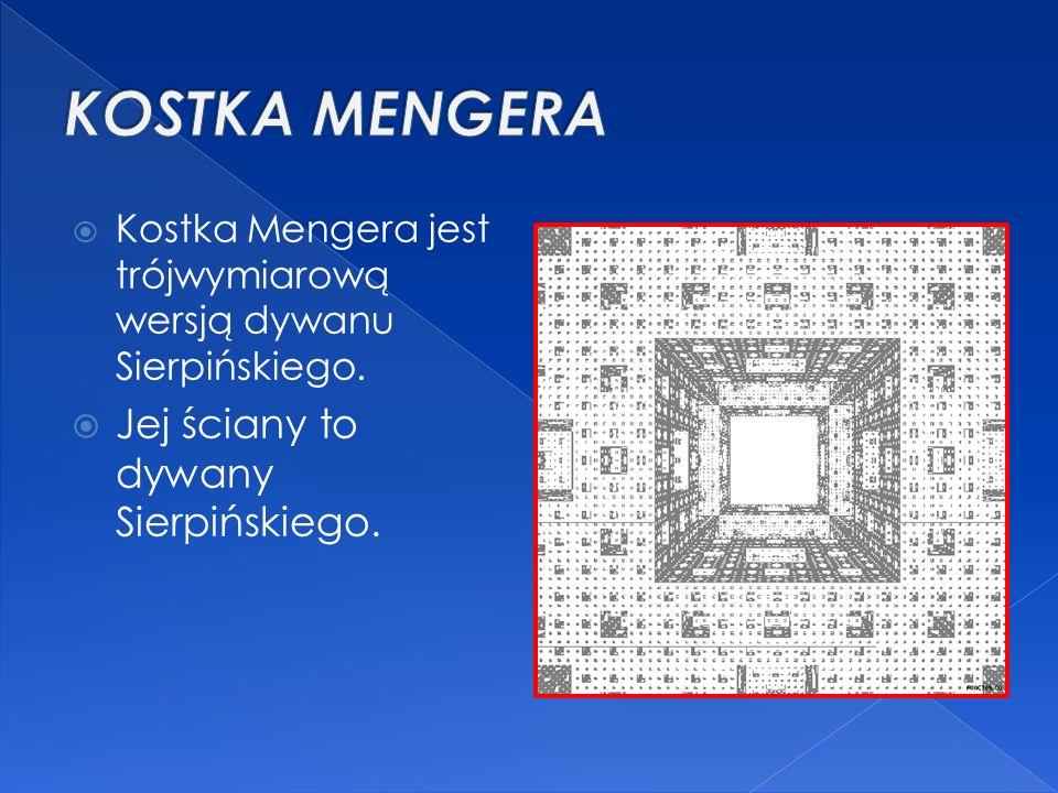  Kostka Mengera jest trójwymiarową wersją dywanu Sierpińskiego.  Jej ściany to dywany Sierpińskiego.