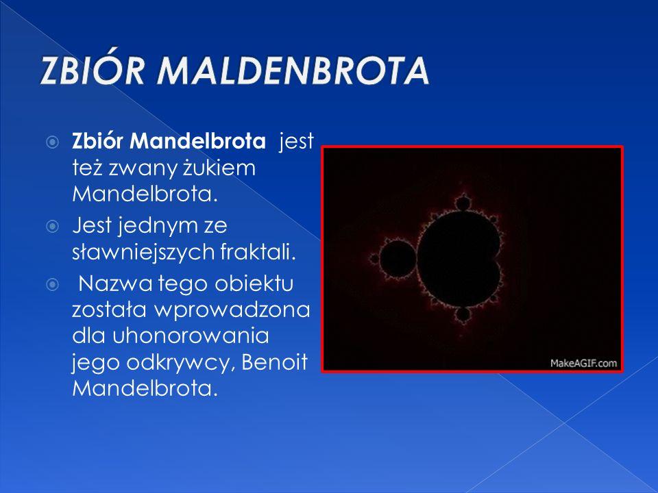  Zbiór Mandelbrota jest też zwany żukiem Mandelbrota.  Jest jednym ze sławniejszych fraktali.  Nazwa tego obiektu została wprowadzona dla uhonorowa