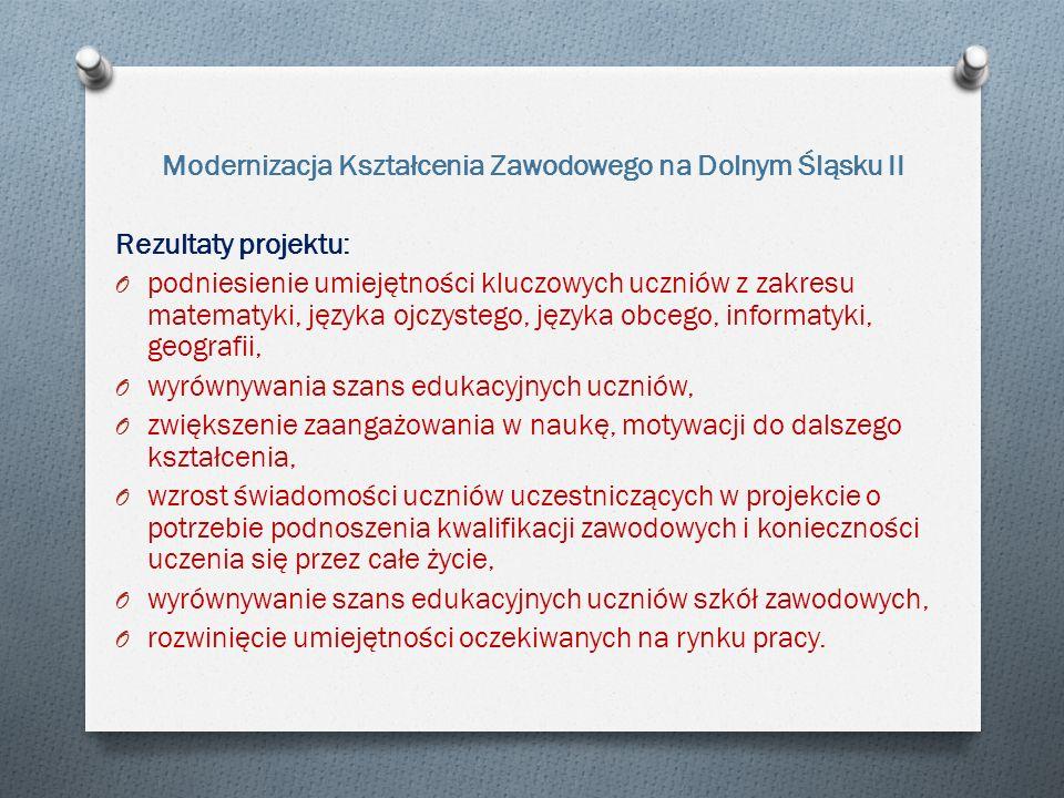 Modernizacja Kształcenia Zawodowego na Dolnym Śląsku II Rezultaty projektu: O podniesienie umiejętności kluczowych uczniów z zakresu matematyki, języka ojczystego, języka obcego, informatyki, geografii, O wyrównywania szans edukacyjnych uczniów, O zwiększenie zaangażowania w naukę, motywacji do dalszego kształcenia, O wzrost świadomości uczniów uczestniczących w projekcie o potrzebie podnoszenia kwalifikacji zawodowych i konieczności uczenia się przez całe życie, O wyrównywanie szans edukacyjnych uczniów szkół zawodowych, O rozwinięcie umiejętności oczekiwanych na rynku pracy.