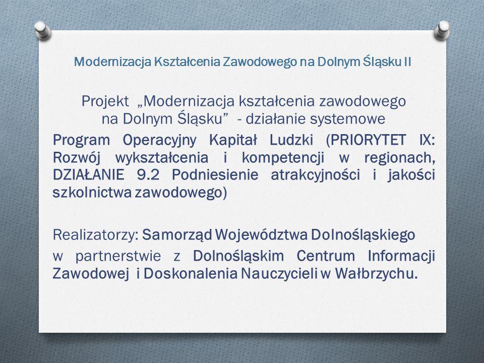 """Modernizacja Kształcenia Zawodowego na Dolnym Śląsku II Projekt """"Modernizacja kształcenia zawodowego na Dolnym Śląsku - działanie systemowe Program Operacyjny Kapitał Ludzki (PRIORYTET IX: Rozwój wykształcenia i kompetencji w regionach, DZIAŁANIE 9.2 Podniesienie atrakcyjności i jakości szkolnictwa zawodowego) Realizatorzy: Samorząd Województwa Dolnośląskiego w partnerstwie z Dolnośląskim Centrum Informacji Zawodowej i Doskonalenia Nauczycieli w Wałbrzychu."""