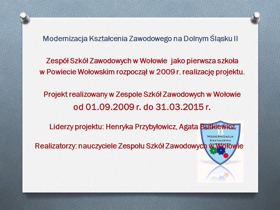 Modernizacja Kształcenia Zawodowego na Dolnym Śląsku II Zespół Szkół Zawodowych w Wołowie jako pierwsza szkoła w Powiecie Wołowskim rozpoczął w 2009 r.