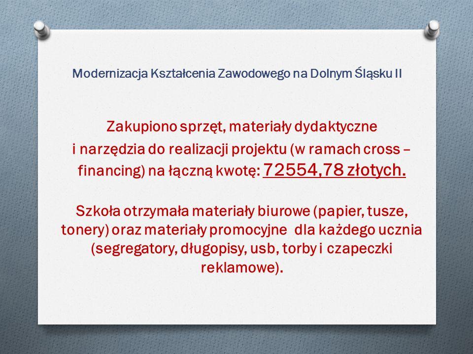 Modernizacja Kształcenia Zawodowego na Dolnym Śląsku II Zakupiono sprzęt, materiały dydaktyczne i narzędzia do realizacji projektu (w ramach cross – financing) na łączną kwotę: 72554,78 złotych.