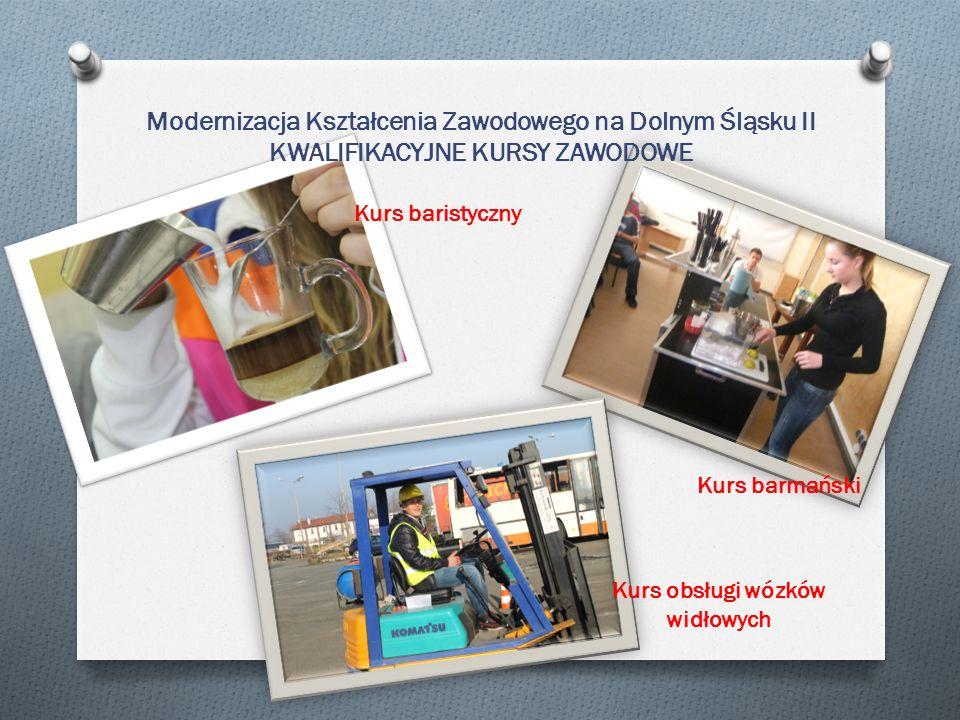 Modernizacja Kształcenia Zawodowego na Dolnym Śląsku II KWALIFIKACYJNE KURSY ZAWODOWE Kurs baristyczny Kurs barmański Kurs obsługi wózków widłowych
